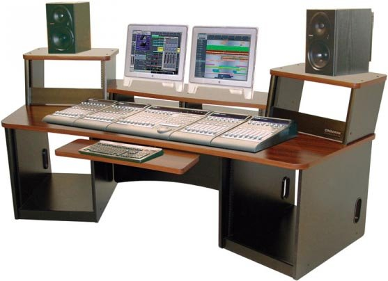 Audio/Video Workstation Desk (with Mahogany Finish, 36 RU Total)