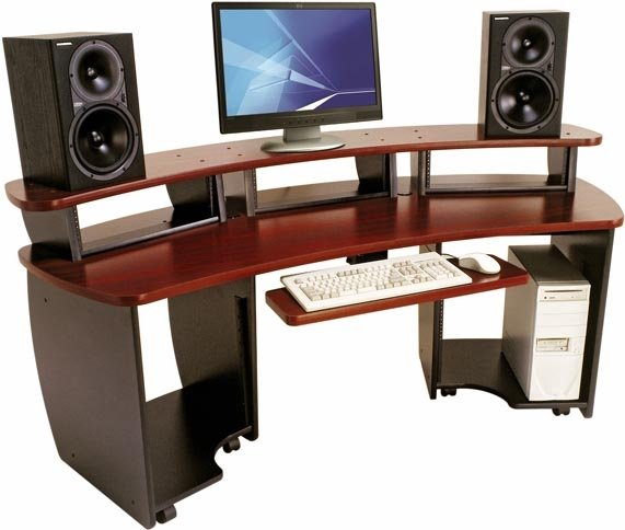 Omnirax OMNI-DESK-MF OmniDesk Audio/Video Editing Desk (in Mahogany Finish) OMNI-DESK-MF