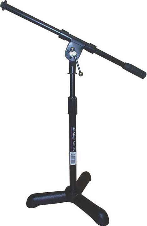 "14""-22"" Adjustable Bass Drum/Amplifier Microphone Stand with 17.5"" Boom and Cast Tripod Base"