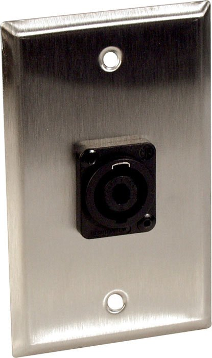 Wall Plate, Single Gang, With 1 Speakon Jack, Black
