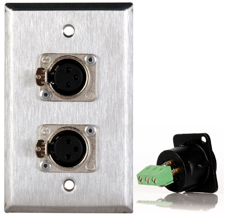 1 Gang Stainless Steel Wall Plate with 2 XLRF Connector