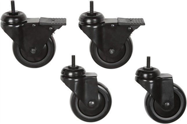 """Set of 4 (2x 3/8"""", 2x 1"""") Black Casters (for Acecta, EB Series Mobile Stands)"""