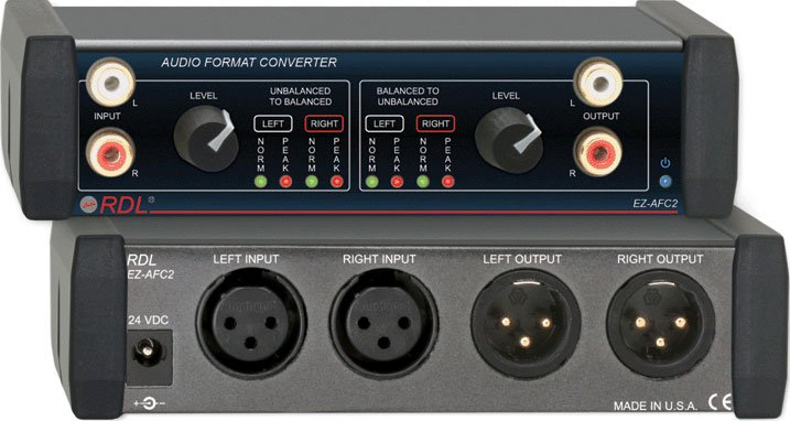Stereo Balanced to Unbalanced Audio Format Converter
