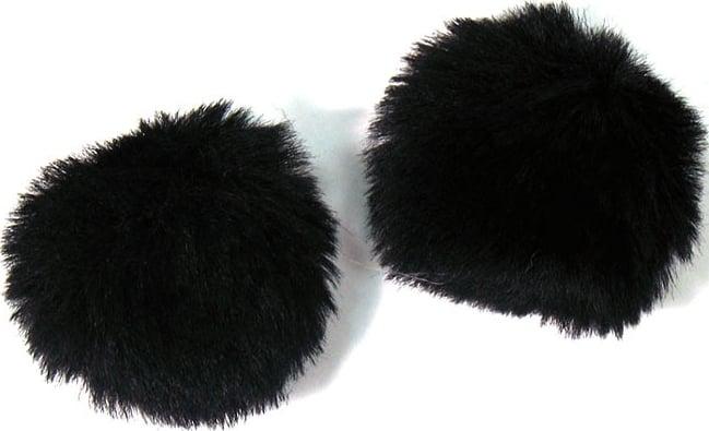 1 Pair of Furry Black Windjammers for Lavalier Microphones