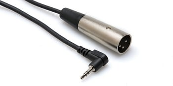 Microphone Cable, right-angle 3.5mm to XLR3M, 1ft