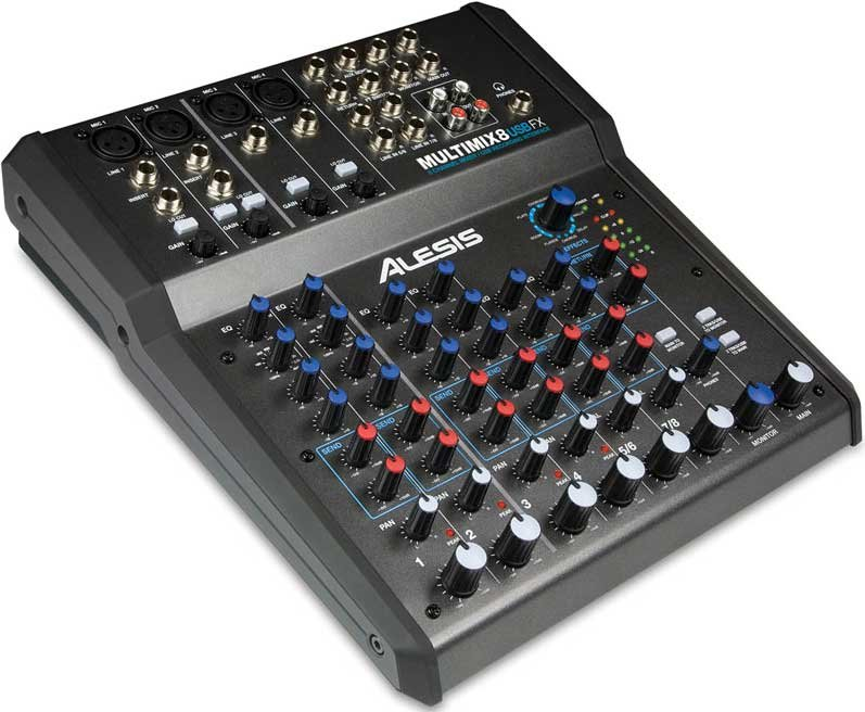 Alesis MultiMix 8 USB FX 8 Channel Mixer with USB and DSP Effects MULTIMIX-8USB-FX