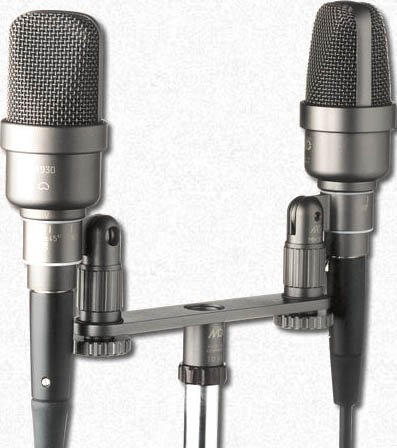 Stereo Pair of Large Diaphragm Microphones with ORTF Stereo Bar