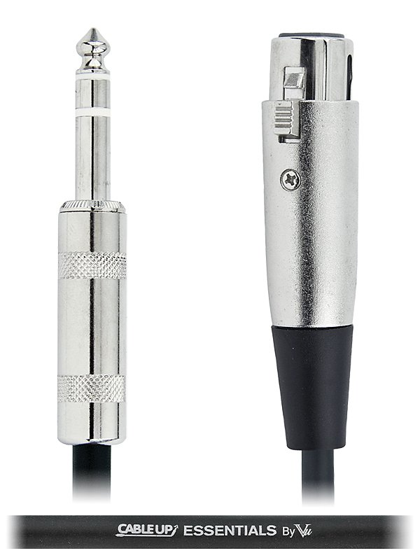 """1 ft 1/4"""" TRS Male to XLR Female Balanced Cable with Silver Contacts"""
