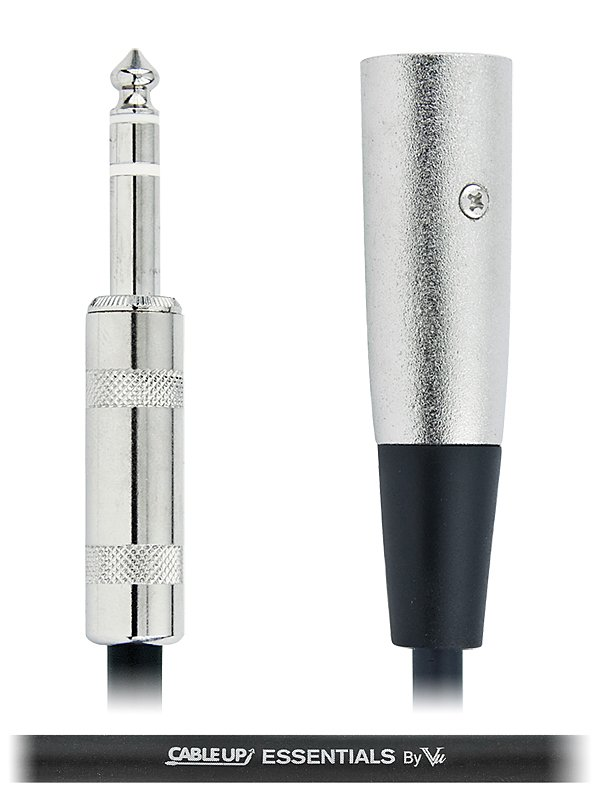 "1 ft 1/4"" TRS Male to XLR Male Balanced Cable with Silver Contacts"