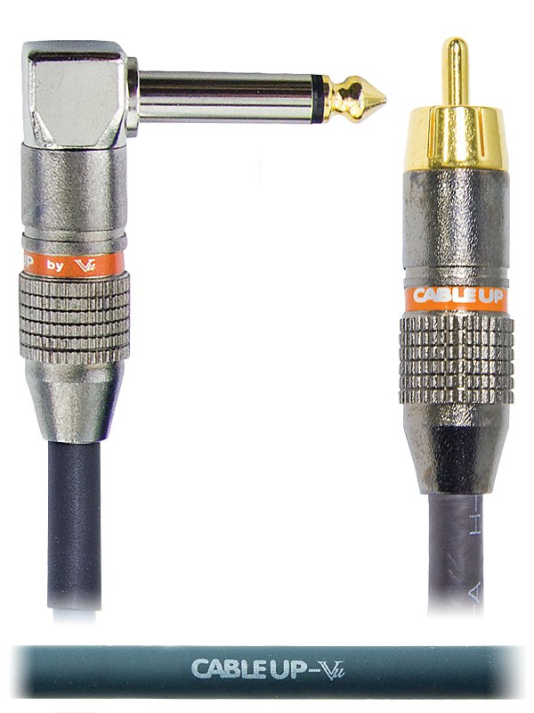 "10 ft RCA Male to 1/4"" Right Angle TS Male Unbalanced Cable"