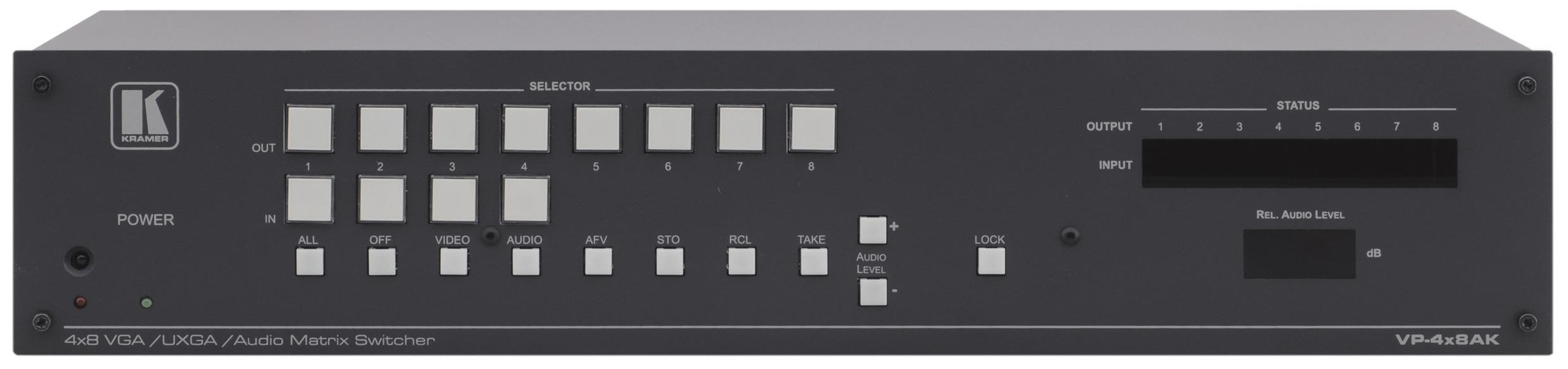 4x8 Computer Graphics Video & Stereo Audio Matrix Switcher