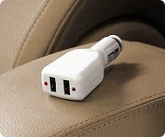 In-Vehicle Dual USB iPod & iPhone Car Charger, 5v, 500mA output