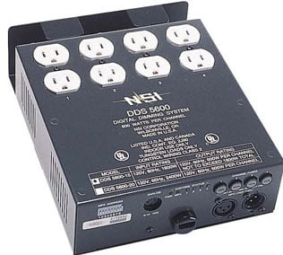 DDS 5600 4-Channel 600W/CH Dimmer/Relay System with DMX Installed, 15 A Power Supply Cord