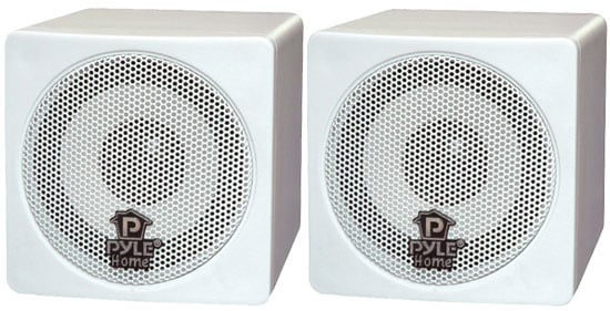 "Pyle Pro PCB3WT 1 Pair of 3.5"" White Cube Speakers PCB3WT"