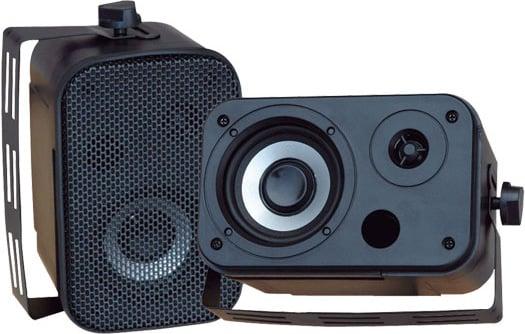 """1 Pair of Black 3.5"""" Outdoor Waterproof Wall-Mount Speakers"""
