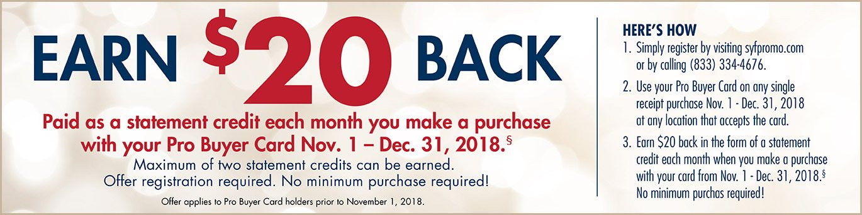 Pro Buyer Card, Earn $20 Back